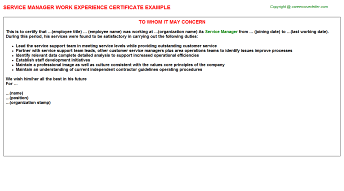 Service Manager Experience Letter Template
