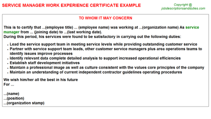 Service Manager Work Experience Letter Template