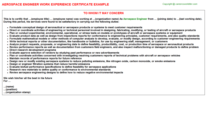 Aerospace Engineer Experience Letter Template