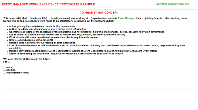 Event Manager Experience Letter Template
