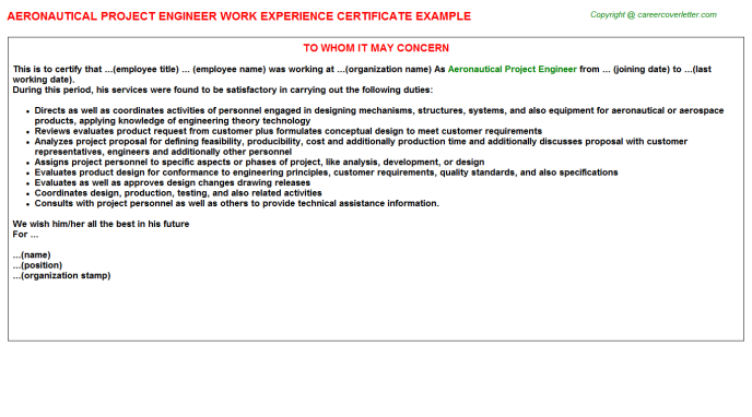 Aeronautical Project Engineer Work Experience Letter Template