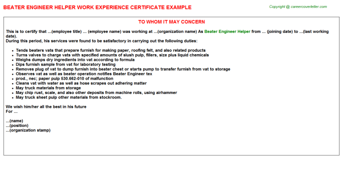 Beater engineer Helper Experience Letter Template