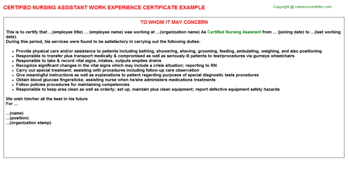 Certified Nursing Assistant Experience Letter Template