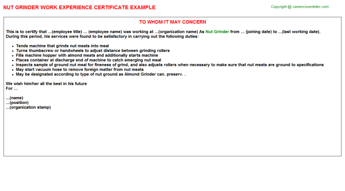 nut grinder experience letter template