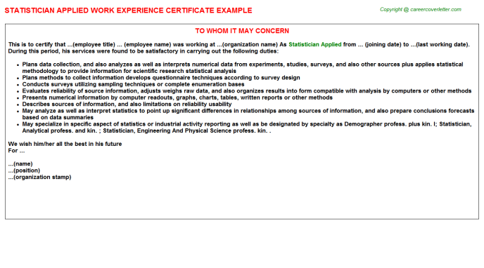Statistician Applied Experience Certificate Template