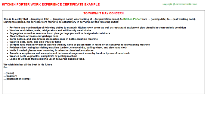 Kitchen Porter Experience Letter Template
