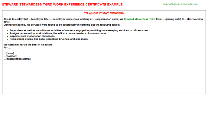steward-stewardess-third-work-experience-letter Job Application Letter Sample For Cook on for teaching, nurse cover, for students,