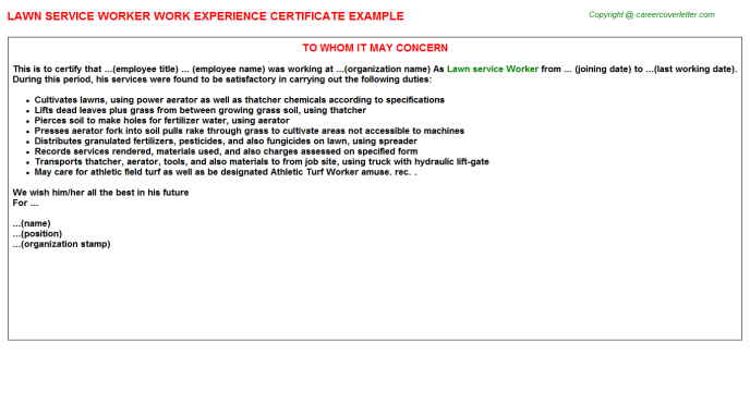 Lawn Service Worker Work Experience Letter 5810
