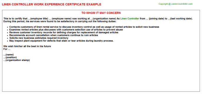 linen controller experience letter template