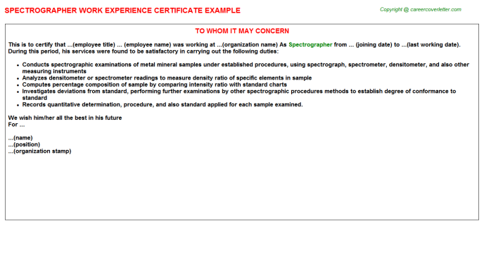 Spectrographer Experience Letter Template