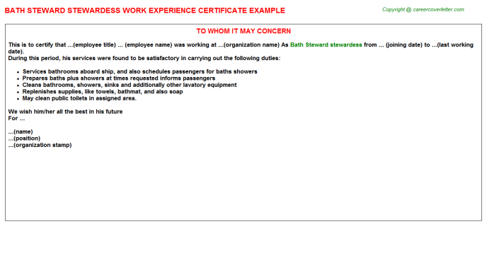 Chief Steward Hotel Job Experience Letters Examples