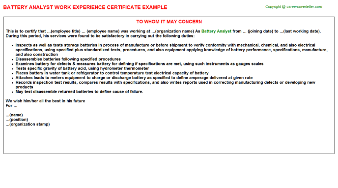 Battery analyst work experience letter (#16813)