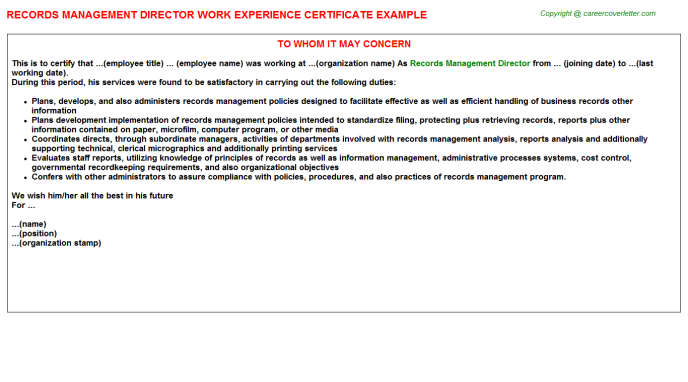 Records Management Director Career Templates