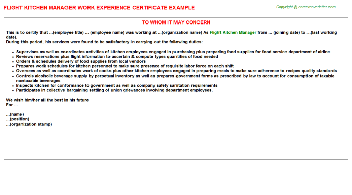 flight kitchen manager experience letter template