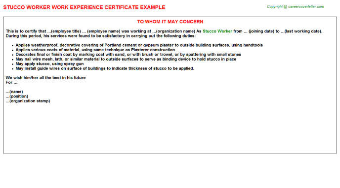Stucco Worker Experience Letter Template