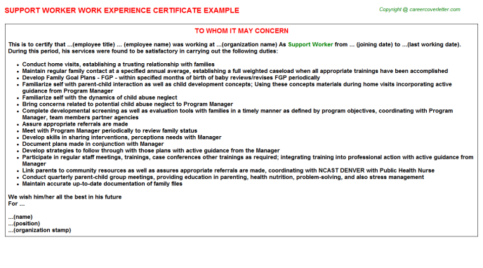 Support Worker Experience Letter Template