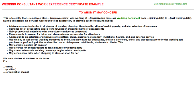 wedding consultant experience letter template