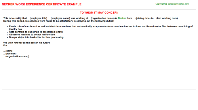Necker Experience Letter Template