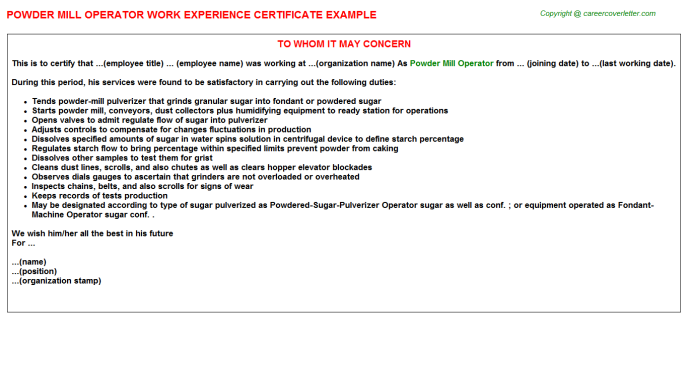 Powder mill Operator Experience Letter Template