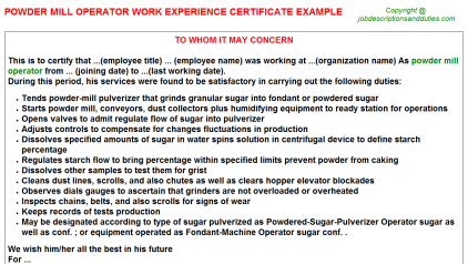 Powder mill Operator Work Experience Letter Template