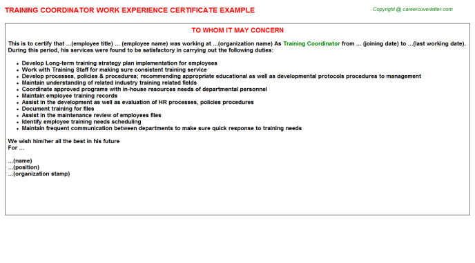 Training Coordinator Experience Letter Template