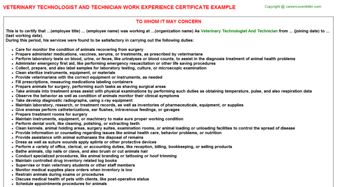 Veterinary Technologist And Technician Experience Letter Template