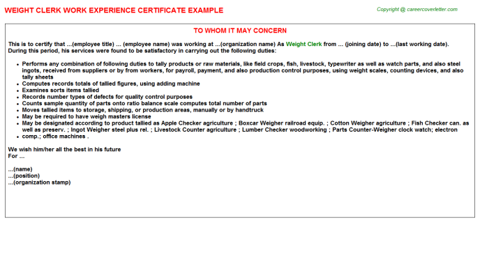 Weight Clerk Experience Letter Template