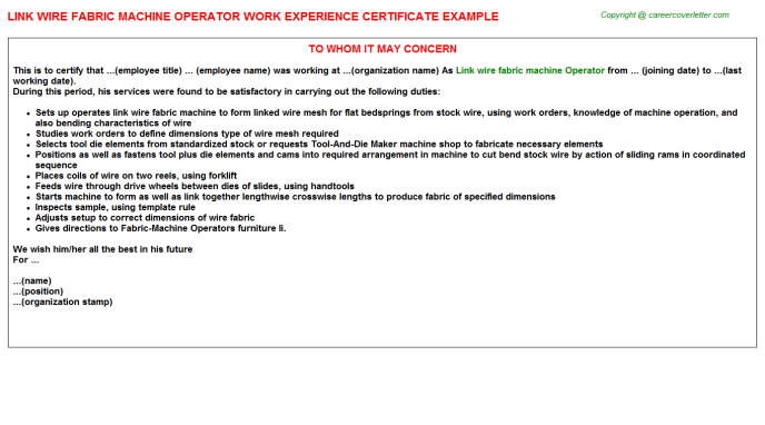 Link wire fabric machine Operator Experience Letter Template