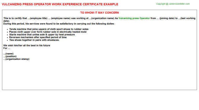 Vulcanizing press Operator Experience Letter Template