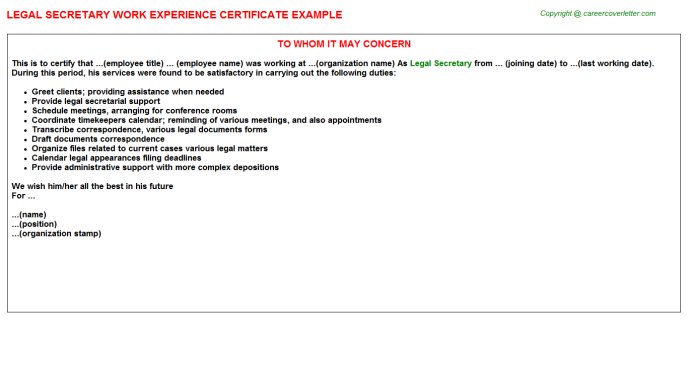 Legal Secretary Experience Letter Template