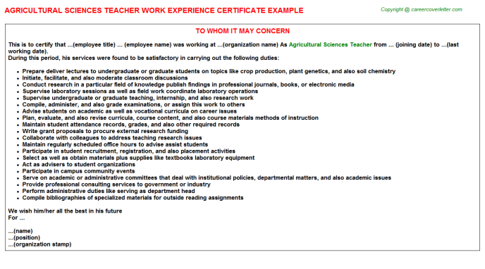 Agricultural Sciences Teacher Experience Certificate Template