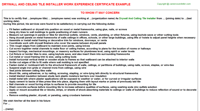 Drywall And Ceiling Tile Installer Work Experience Letter