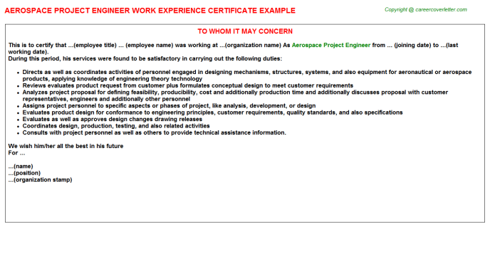 Aerospace Project Engineer Work Experience Letter Template