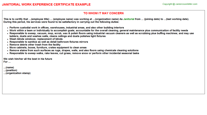 Janitorial Experience Letter Template