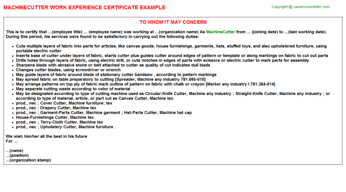 Machinecutter Experience Letter Template