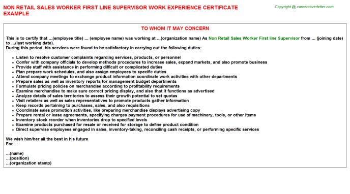 Non Retail Sales Worker First Line Supervisor Experience Letter Template