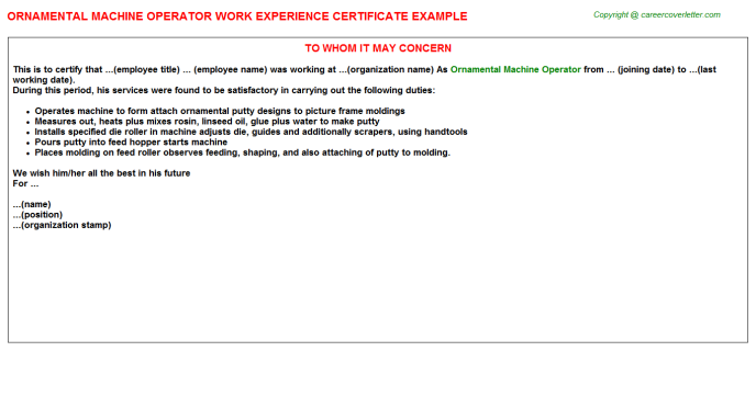 ornamental machine operator experience letter template