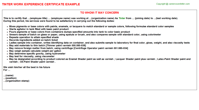 Tinter Experience Letter Template