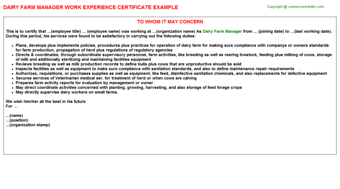Dairy Farm Manager Experience Letter Template