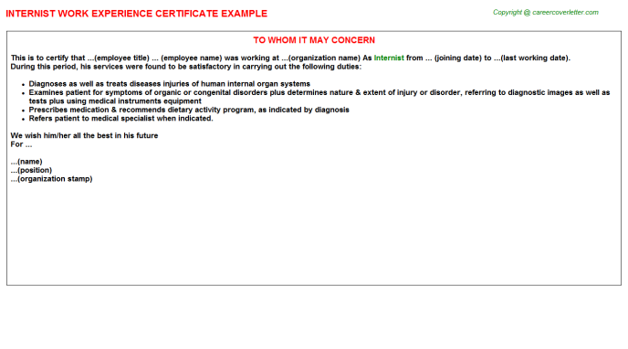 Internist Experience Letter Template