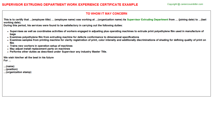 supervisor extruding department experience letter template