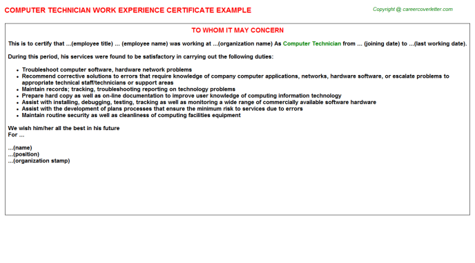 Computer Technician Experience Letter Template