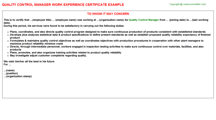 Quality Control Manager Experience Letter Template