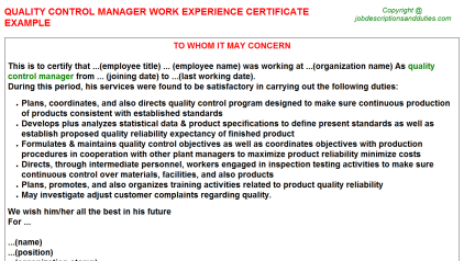 Quality Control Manager Work Experience Letter Template