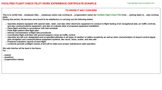 Facilities Flight Check Pilot Experience Letter Template