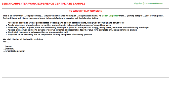 bench carpenter experience letter template