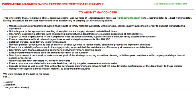 Purchasing Manager Work Experience Letter