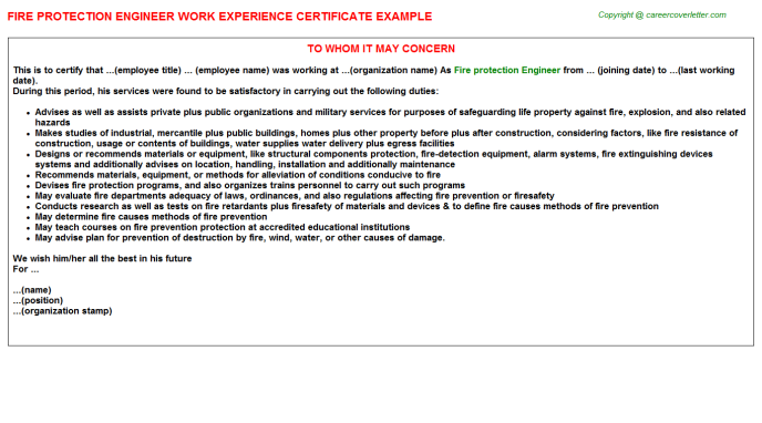 Fire Protection Engineer - Career Template Examples