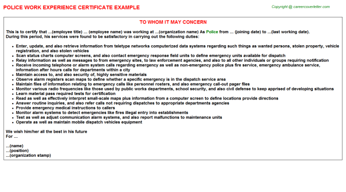 Police Work Experience Certificate Template