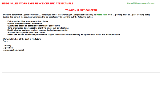 Inside Sales Experience Letter Template